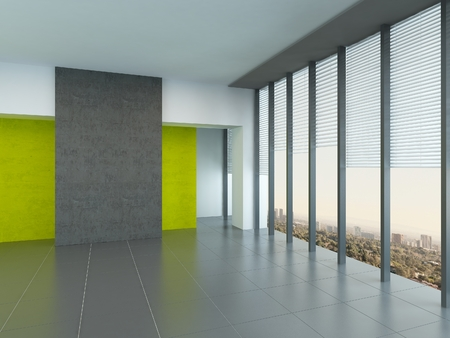Interior architectural background of a large empty room with yellow wall accents and floor-to-ceiling panoramic windows reflecting on a grey floor photo