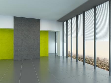 room accents: Interno sfondo architettonico di una grande stanza vuota con accenti muro giallo e finestre panoramiche dal pavimento al soffitto che riflettono su un pavimento grigio Archivio Fotografico