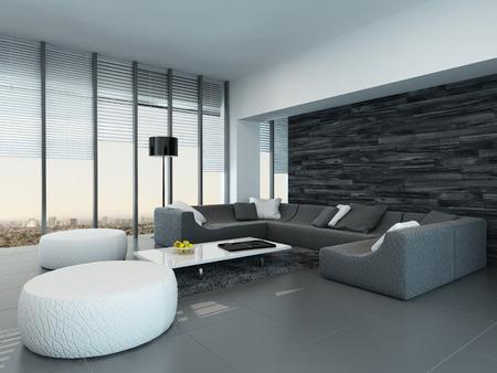 Perspective Inclinée D\'un Gris Et Blanc Salon Moderne Intérieur Avec ...
