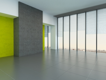 accent: Interior architectural background of a large empty room with yellow wall accents and floor-to-ceiling panoramic windows reflecting on a grey floor Stock Photo