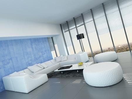 Gris, azul y blanco de la sala decoración interior contemporáneo ...