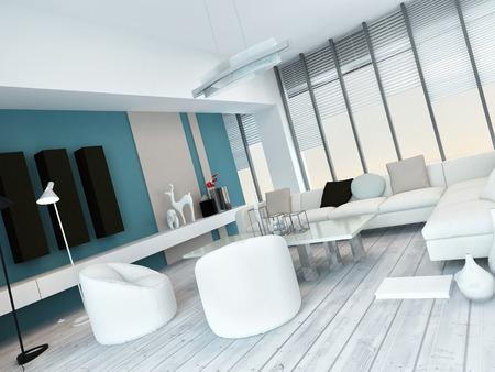 room accents: Fresco bianco e blu salotto interni con parquet verniciati bianchi, una moderna suite modulare bianco salotto, vetrate di grandi dimensioni dal pavimento al soffitto e accenti muro blu con gli armadietti Archivio Fotografico