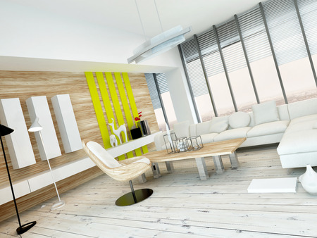 floorboards: Rustic wood veneer finish living room interior with natural wood coffee table and wall panels and white painted wooden floorboards, yellow accents and large view windows Stock Photo