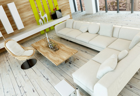 floorboards: High angle view of a rustic living room interior with white painted wooden floorboards, wood paneled wall and a long corner white upholstered couch or settee