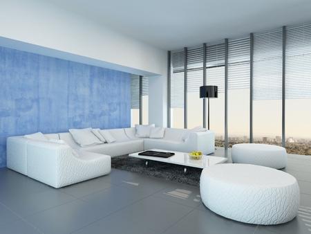 #30079680   Moderne Grau, Blau Und Weiß Wohnzimmer Interieur Mit Einem  Modularen Weiße Lounge Suite Auf Einem Grauen Boden, Vom Boden Bis Zur  Decke ...