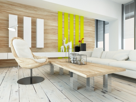 accent: Rustic wood veneer finish living room interior with natural wood coffee table and wall panels and white painted wooden floorboards, yellow accents and large view windows Stock Photo