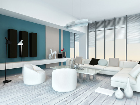 Cool blue and white modern living room inyerior with white painted wooden floorboards, a modern white lounge suite, blue accent walls and large floor-to ceiling panoramic glass windows photo