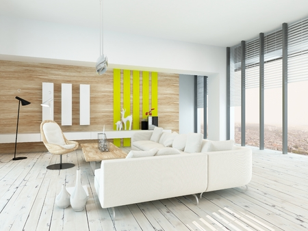 home accents: Bright airy living room with rustic decor with wood veneered walls, white painted floorboards, modern white lounge suite and chair , yellow accents, and large floor-to-ceiling windows along one wall Stock Photo