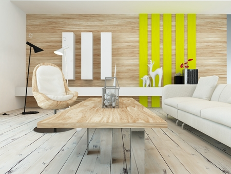 Rustic decor in a modern living room with a wood wall with yellow accents, contemporary wooden coffee table, white painted floorboards and a comfortable white sofa photo