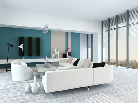 Pretty blue and white living room interior with rustic white painted wooden floorboards, a modern modular white lounge suite, view windows and blue accent wall