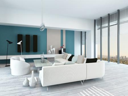 Ziemlich blau und wei� Wohnzimmer Innenraum mit rustikalen wei� lackierten Holzb�den, eine moderne modulare wei�e Sitzgruppe, sehen Fenster und blauen Akzent Wand