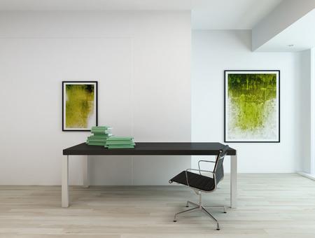 cuadros abstractos: Contempor�neo m�nima interior de una oficina o una sala de estudio residencial, con mesa rectangular negro y una silla, dos cuadros abstractos en tonos verdes en las paredes blancas y parquet de madera de color beige