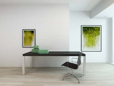 study table: Contemporary minimal interior of an office or a residential study room, with black rectangular table and chair, two abstract paintings in green hues on white walls and beige wooden parquet