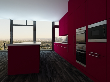 tilted view: Colorful modern open plan kitchen and dining room with bright magenta cabinets and a stylish modern dining suite in front of panoramic view windows, tilted perspective