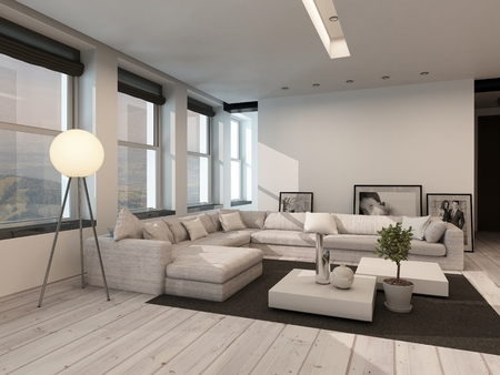 Modern black and white sitting room interior with painted white floorboards with a black carpet, a corner lounge suite, row of windows and modern freestanding lamp