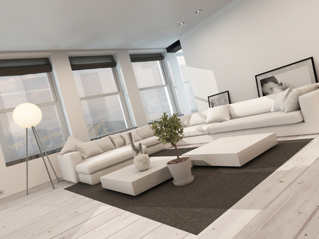 floorboards: Modern black and white sitting room interior with painted white floorboards with a black carpet, a corner lounge suite, row of windows and modern freestanding lamp