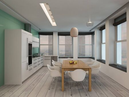 Open plan modern kitchen and dining room interior with built in appliances along one wall and a contemporary, dining table and chairs in a long room with surround windows letting in plenty of daylight photo