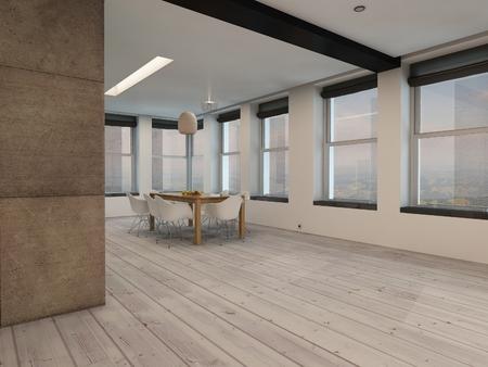 floorboards: Ver en una esquina de un amplio plan abierto comedor interior con m�ltiples ventanas todas redondas y una peque�a mesa de comedor moderna y sillas en entarimado de madera al descubierto