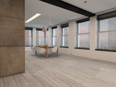 uncarpeted: View around a corner of a spacious open plan dining room interior with multiple windows all round and a small modern dining table and chairs on bare wooden floorboards