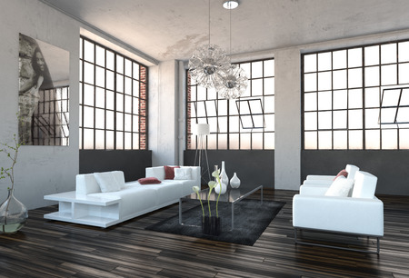 Spacious high volume modern living room interior with huge revolving cottage pane windows and a stylish white lounge suite on a wooden parquet floor photo