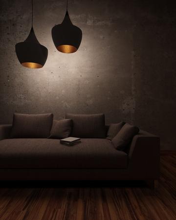 abatjour: Notte scena in un salotto con un libro abbandonato sdraiata su un comodo divano sotto lampade a sospensione gettando una luce soffusa e le ombre