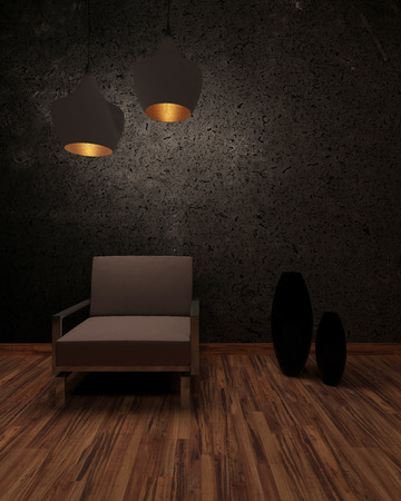 Shadowy interior with a brown armchair under two illuminated hanging lamps in front of a dark textured wall with ornamental vases on a parquet floor photo