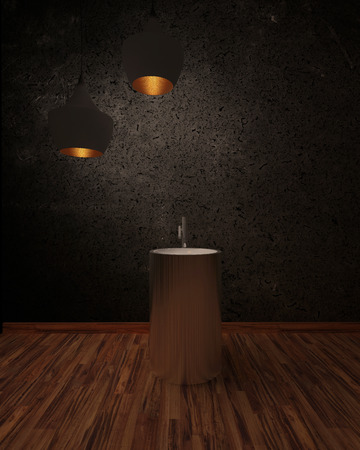 shadowy: Wash basin in a shadowy interior under two illuminated hanging lamps Stock Photo