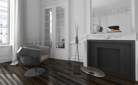 classic living room: Classic white living room interior with modern black armchair