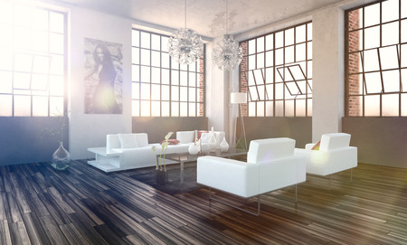 Very bright high volume modern living room interior with revolving cottage pane windows, wooden parquet floor and modern white lounge suite with lens flare from the bright sunlight photo