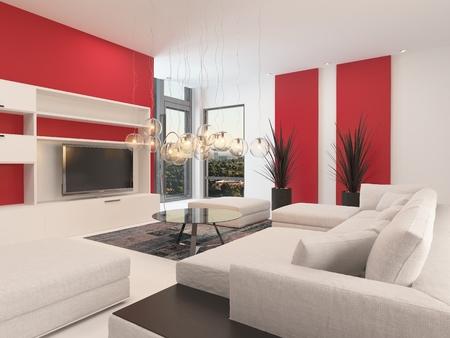 room accents: Moderno salotto bianco interno con accenti rossi alle pareti e una grande suite confortevole salotto imbottito con pouf di fronte a un televisore
