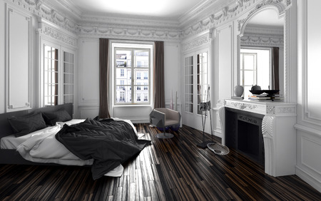 Classic black and white bedroom interior decor with a double bed with unmade duvet, long windows with drapes, a fireplace with over mantel mirror , a molded cornice and parquet floor