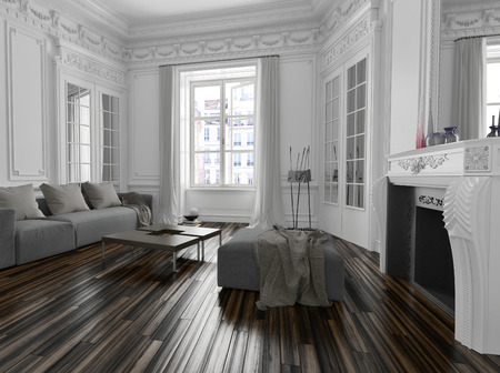 Classic white living room interior with architectural cornice moldings, a fireplace with mirror, long window and modern sofa and ottoman in a townhouse apartment