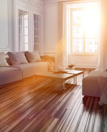 luz do sol: A luz solar brilhante fluindo em um interior sala de estar com piso em parquet e sofá através de uma grande janela com alargamento da lente efeito
