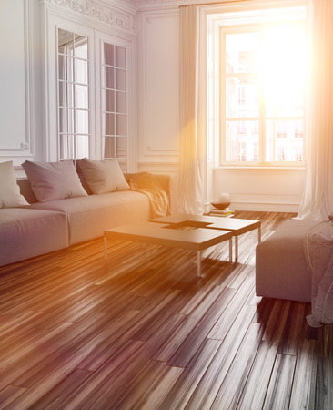 windows: Bright sunlight streaming into a living room interior with a parquet floor and couch through a large window with lens flare effect