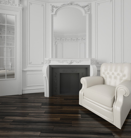 uncarpeted: Classic white living room interior with a large overmantel mirror over a fireplace, wood wall paneling, interior door and white upholstered armchair on a parquet floor