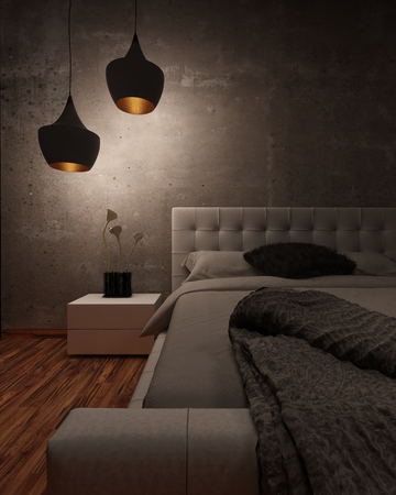 light fitting: White leather bed with padded headboard and throw rug illuminated at night by two modern hanging lights in a shadowy room, closeup partial view of the bed