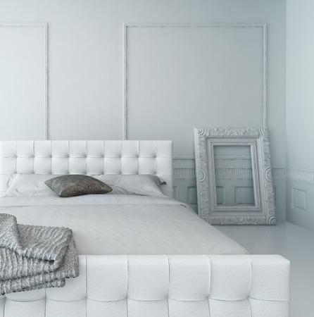 흰색 고급 깔린 침실 인테리어에 흰색 가죽 침대