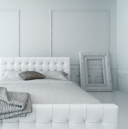 White leather bed in a white luxury paneled bedroom interior photo