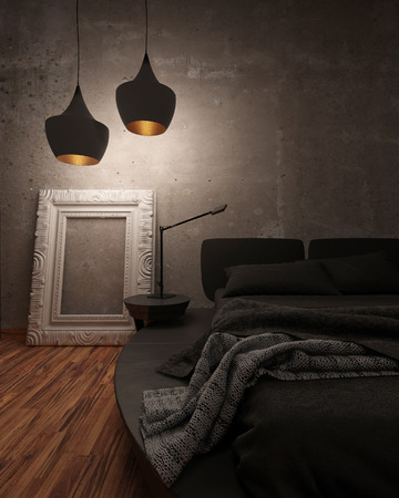 light fitting: Black leather bed with padded headboard and throw rug illuminated at night by two modern hanging lights in a shadowy room, closeup partial view of the bed