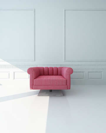 centered: Single pink armchair in a white paneled room with stark white floor standing at the edge of a patch of sunlight centered in the frame