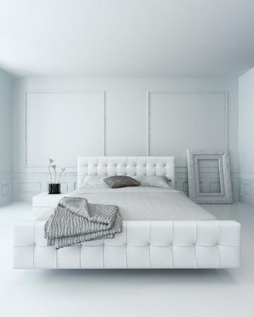 chambre � coucher: Blanc lit en cuir dans un int�rieur de chambre de luxe blanche lambriss�e Banque d'images