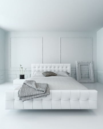 White leather bed in a white luxury paneled bedroom interior
