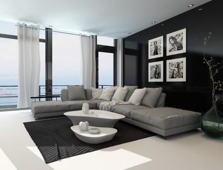 Lounge Interieur mit dunklem Akzent Wand und Boden bis zur Decke Fenster mit Blick auf den Ozean mit einem komfortablen beige Sitzgruppe und modernen Tischen