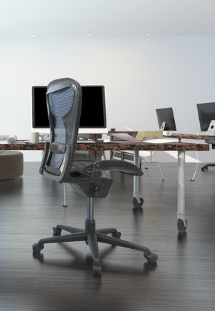 moder office room interior with wooden desk chair and workstation photo