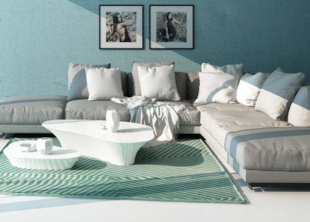 home accents: Comfortable contemporary lounge interior with a close up view of an upholstered grey suite with cushions against an aquamarine wall with artwork