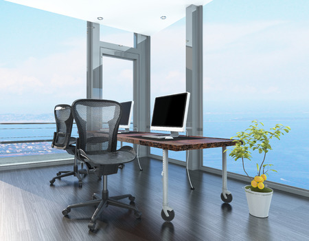 home office interior: Home office in a coastal apartment with wraparound glass -to-ceiling windows overlooking the sea and a corner computer workstation on wheels
