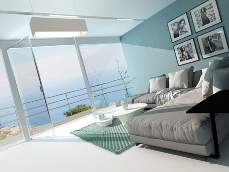 balcony design: Luxury waterfront apartment living room with a floor-to-ceiling glass window overlooking the ocean with patio doors and an aquamarine accented side wall and carpet