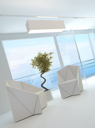 airy: Elegant bright airy sitting room interior with two contemporary white armchairs and a decorative potted tree in front of view windows overlooking a patio and the ocean