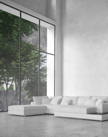 이중 볼륨 천장과 대형 유리 창 내려다 보이는 나무와 큰 현대적인 미니멀 한 거실 인테리어