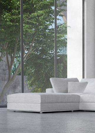 low angle views: Interior del sal�n con vistas a los �rboles en un patio a trav�s de una gran ventana de vidrio de piso a techo con un moderno Otomano y una suite en la esquina Foto de archivo